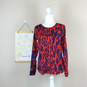 THE LIMITED | Red + Blue Chic Leopard Print Blouse
